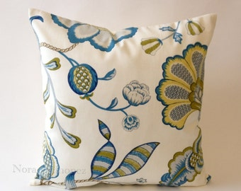 Blue and Citron Floral Jolene Print Decorative Pillow Cover - Solid Off White Canvas Backing -Medium Weight Cotton