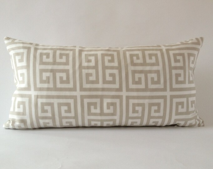Greek Key Decorative Bolster Pillow Cover - Tan and White - Medium Weight Cotton- Invisible Zipper Closure- Cushion Cover