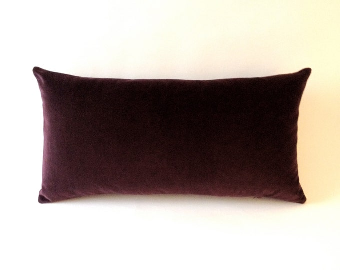 Wine Decorative Bolster Throw Pillow- Medium Weight Cotton Velvet -10x20 to 12x24 Invisible Zipper Closure- Knife Or Piping Edge