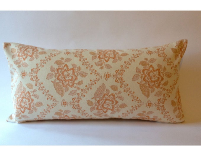 Vintage Decorative Bolster Pillow - Vintage Pindler and Pindler Jacquard and Solid Backing- Invisible zipper enclosure