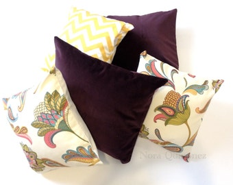 Paula Floral Print Decorative Pillow Cover - Solid Canvas Backing -Medium Weight Cotton- Invisible Zipper Closure