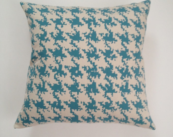 16x16 TO 20x20 Houndstooth Decorative Pillow Cover -Teal Blue and White Herringbone Medium Cotton- Invisible Zipper Closure.