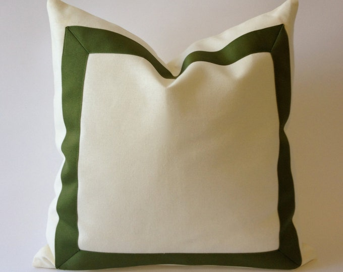 White Canvas Decorative Pillow Cover with Olive Green Grosgrain Ribbon Border -20x20 TO 26x26- Cushion Covers- Decorative Throw pillow