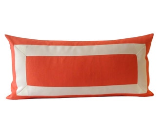 Decorative Pillow Cover Orange Papaya Cotton Canvas with Off White Grosgrain Ribbon Border -10x20 TO 26x26 - Cushion Covers