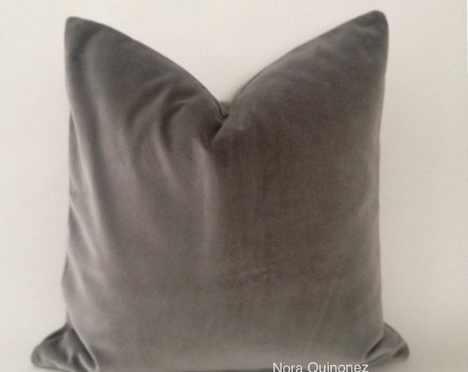 Gray  Cotton Velvet Pillow Cover - Decorative Accent Throw Pillows - Invisible Zipper Closure - Knife Or Piping Edge -16x16 to 26x26