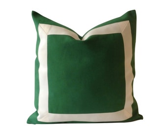 Decorative Pillow Cover Kelly Green Cotton Canvas with Off White Grosgrain Ribbon Border - Cushion Covers