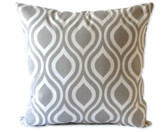 Decorative Pillow Cover SET OF TWO 16x16 or 18x18 Lattice Print Decorative Pillow Cover - Medium Weight Cotton- Invisible Zipper Closure