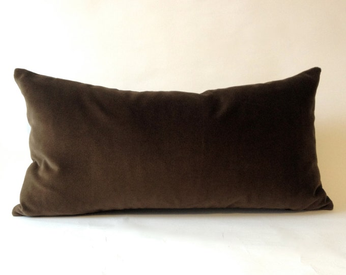 Brown Cotton Velvet Pillow Cover -Decorative Accent Bolster -Invisible Zipper Closure -Knife Or Piping Edge -16x16 to 26x26