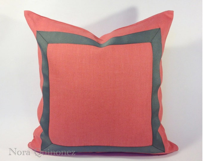 Coral Linen Pillow Cover with Gray Grosgrain Ribbon Border - Invisible Zipper Closure- Cushion Cover 46x46 cm.