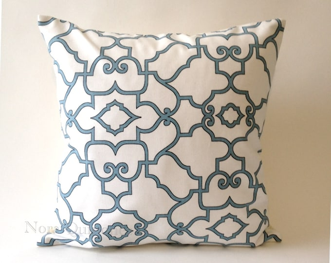16x16 Lattice Design Decorative Throw Pillow in Teal and Black on White Medium Weight Cotton Print- Invisible Zipper Closure