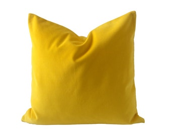 Bright Yellow Cotton Velvet Pillow Cover- Square Decorative Throw Pillows- Invisible Zipper Closure- Knife Or Piping Edge