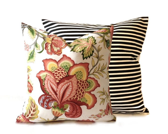 Decorative Pillow Cover Andrea Floral Print - Black and White Striped Backing -Medium Weight Cotton- Invisible Zipper Closure