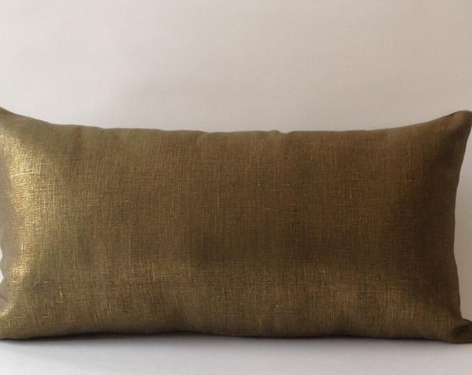 Metallic Bronze Linen Decorative Lumbar Pillow Cover - Medium Weight Linen- Invisible Zipper Closure