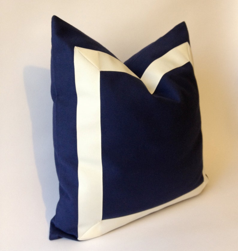 Navy Blue Cotton Canvas Pillow Cover with Off white Grosgrain Ribbon Decorative Throw Pillow Cover Cushion Cover 41x41 cm