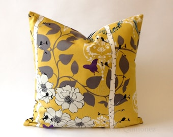 20x20 Floral Print Decorative Pillow Cover - Black and White Striped Backing -Medium Weight Cotton- Invisible Zipper Closure