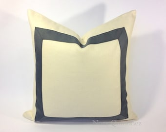 Decorative Throw Pillow Cover White Cotton Canvas with Gray or Navy Grosgrain Ribbon Applique- Cushion Cover