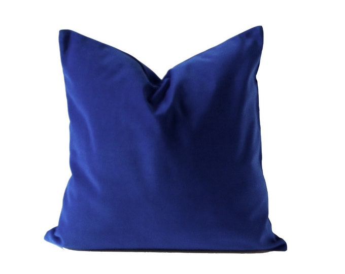 Royal Blue Cotton Velvet Pillow Cover - Decorative Accent Throw Pillows - Invisible Zipper Closure - Knife Or Pipping Edge -16x16 to 26x26