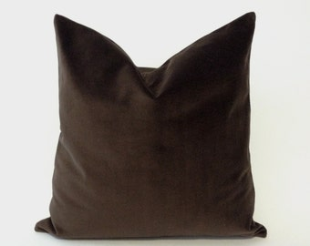 Brown Decorative Throw Pillow Cover - Medium Weight Cotton Velvet - Invisible Zipper Closure- - Knife Or Piping Edge