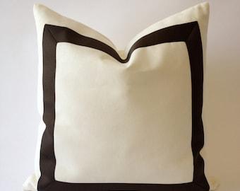 Decorative Throw Pillow Cover Cotton Canvas with Dark Brown Grosgrain Ribbon Border - Cushion Covers