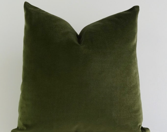Olive Green Cotton Velvet Pillow Cover - Decorative Accent Throw Pillows - Invisible Zipper Closure - Knife Or Piping Edge -16x16 to 26x26
