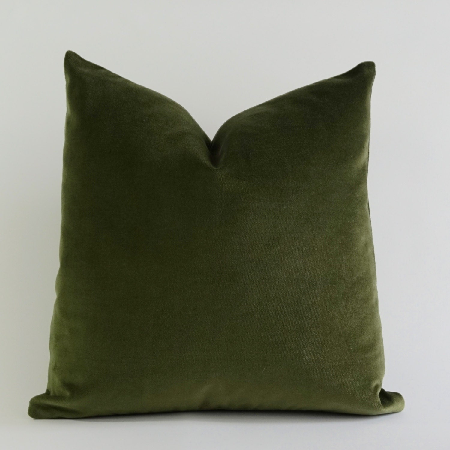 olive green pillows. Olive Green Cotton Velvet Pillow Cover - Decorative Accent Throw Pillows Invisible Zipper Closure Knife Or Piping Edge -16x16 To 26x26