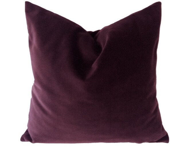18x18 Burgundy Wine Decorative Pillow Cover- Medium Weight Cotton Velvet - Invisible Zipper Closure - Knife Or Piping Edge