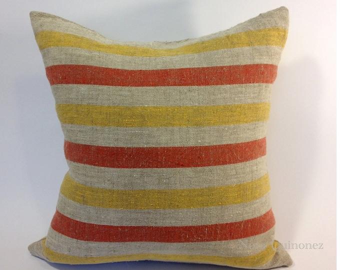 Decorative Throw Pillow Cover  18x18 - Medium Weight Striped Canvas Linen - Invisible Zipper Closure