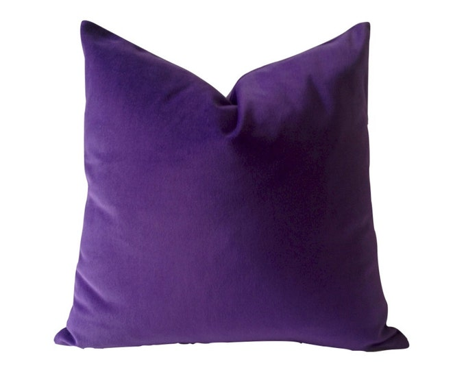 Purple Cotton Velvet Pillow Cover - Decorative Accent Throw Pillows -Invisible Zipper Closure -Knife Or Piping Edge -16x16 to 26x26