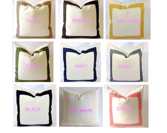 Decorative Pillow Cover Cotton Canvas with Grosgrain Ribbon 10x20 To 26x26 - Canvas Color Available White, Linen Or Off White Canvas