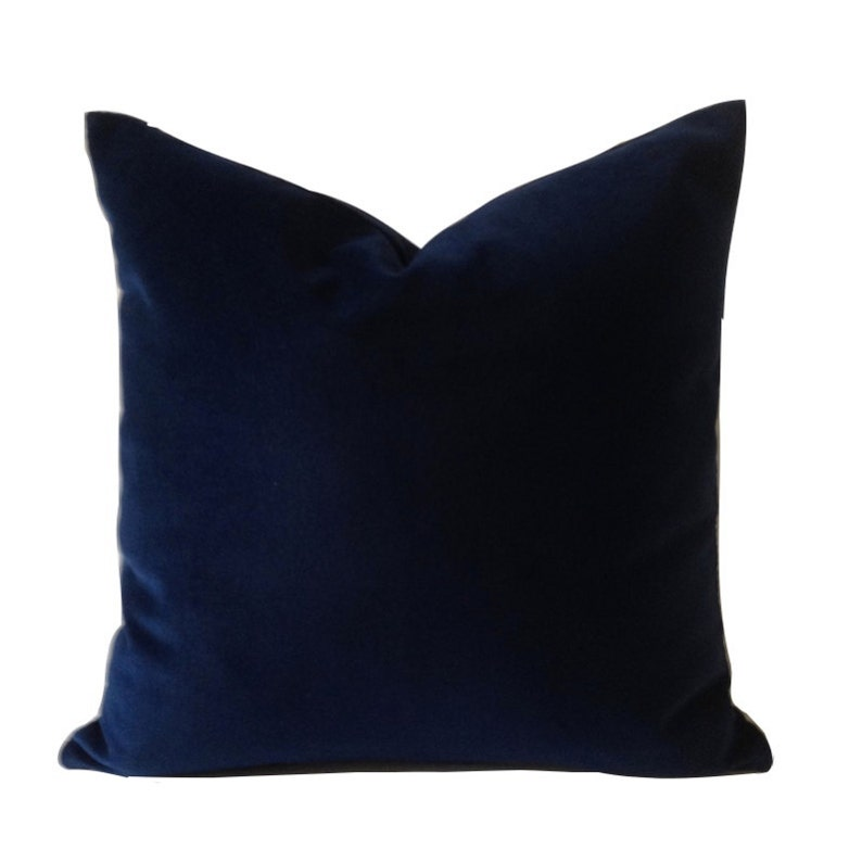 Navy Blue Velvet Pillow Cover  Decorative Accent Throw image 0