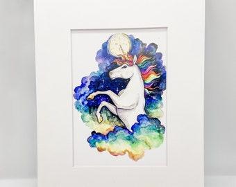Rainbow Unicorn - Watercolor Print