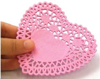 Set of 25  Heart Paper Lace Doilies