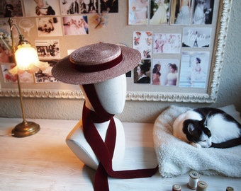 Edwardian tilt canotier hat in pink straw and burgundy neck ribbon Totally handmade