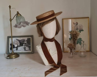 Autumn hat canotier in brown color Totally handmade