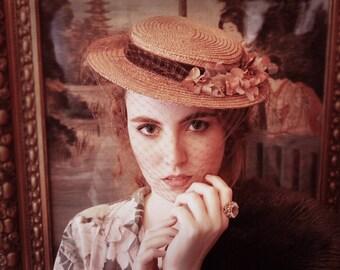 1940s straw hat Lovely Rachel in nude brown pink