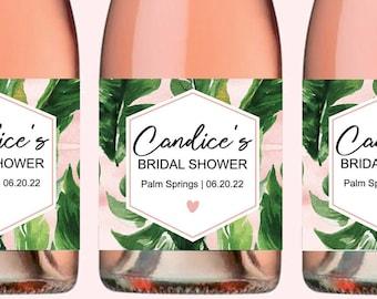 Palm Bridal Shower Champagne Labels Tropical Bridal Shower Mini Champagne Bottle Labels Beach Bridal Shower Champagne Labels
