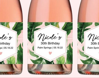 Palm Birthday Champagne Labels Tropical Birthday Mini Champagne Bottle Labels Beach Birthday Champagne Labels