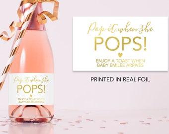 Pop It When She Pops Baby Shower Champagne Labels Baby Shower Mini Champagne Bottle Labels Gold Baby Shower Champagne Labels