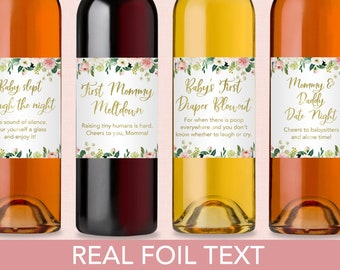 New Mom Gift Wine Labels Mommy Moments Wine Bottle Labels New Mom Baby Shower Gift Idea Wine Labels Fun Gift for New Mom (Set of 4)
