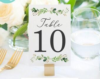 Greenery Table Numbers Wedding Table Numbers Custom Printable Table Numbers Greenery Wedding Decor Green Leaf Table Numbers - Digital File