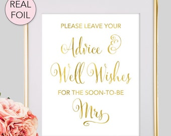 Bridal Shower Advice Sign - Please Leave Your Advice and Well Wishes for the Soon to Be Mrs - Bridal Shower Sign - Gold Bridal Shower (FS1)