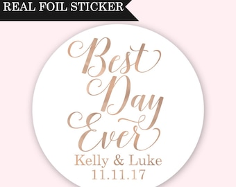 Best Day Ever Stickers - Wedding Favor Stickers - Rose Gold Wedding Stickers - Custom Favor Stickers - Wedding Favor Labels Gold Favor Label