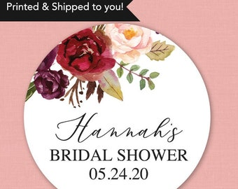 Fall Bridal Shower Stickers Bridal Shower Favor Stickers Wedding Shower Favor Stickers Floral Bridal Shower Stickers Fall Baby Shower