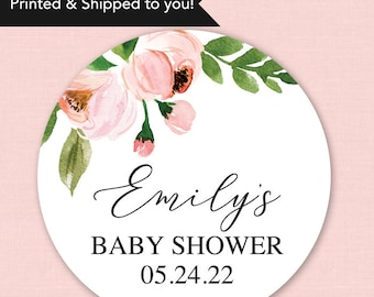 Baby Shower Stickers Girl Baby Shower Favor Stickers Pink Floral Baby Shower Stickers Pink Floral Baby Shower Favor Labels