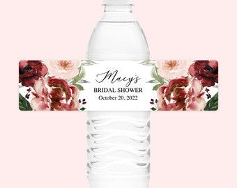 Fall Floral Bridal Shower Water Bottle Labels Blush Burgundy Bridal Shower Water Bottle Labels Personalized Bridal Shower Water Bottle Label