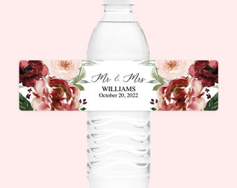 Fall Floral Wedding Water Bottle Labels Blush Burgundy Wedding Water Bottle Labels Personalized Wedding Water Bottle Label