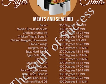 Air Fryer Cook Times Printable, Air Fryer, Air Fryer Cooker Times, Printable, Air Fryer Cheat Sheet, Cooking Cheat Sheet