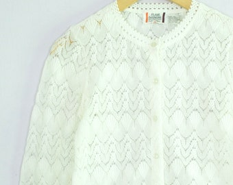 Vintage 1970's White Crochet Lace Cardigan Sweater S/M