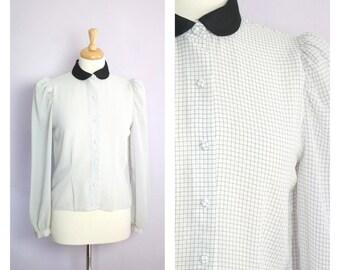 Vintage 1980's Semi Sheer Black + White Checkered Contrast Collar Blouse M