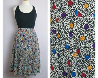 Vintage 1980's Graphic Rose Print Pleated Midi Skirt L/XL